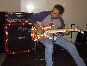 Jamming on EVH's Peavy amp